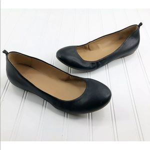 J Crew Ballet Flats Leather Black size 8.5